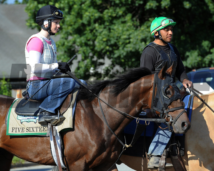 Belmont Stakes longshot Five Sixteen, and jockey Rosie Napravnik<br /> © 2012 Rick Samuels/The Blood-Horse