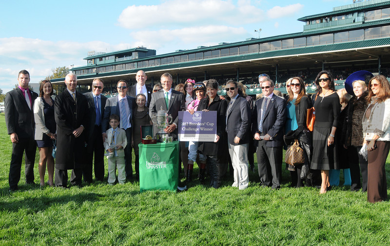 In Lingerie, John Velazquez up, wins the Juddmonte Spinster Stakes, Keeneland Race Track, Lexington, KY 10/7/12 photo by Mathea Kelley Trophy