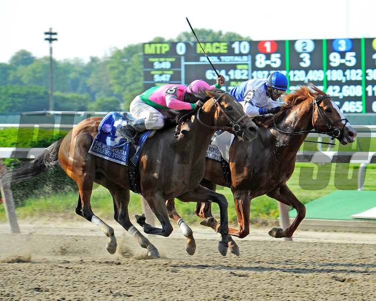 Shackleford, John Velazquez up, holds off a fast closing Caleb's Posse, to win the Gr1 Met Mile in 1:33 30 at Belmont...<br /> Dale Romans trains the winner<br /> <br /> Photo by Rick Samuels
