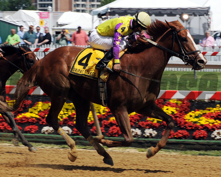 Bold Affair wins the 2012 Skipat Stakes.<br /> Photo by Dave Harmon.