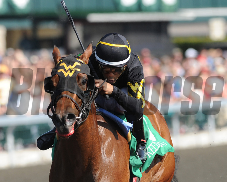 Keeneland Race Course; Lexington; KY 4/15/12; Gypsy Robin, Jeffery Sanchez up wins the Beaumont Stakes<br /> Photo by Mathea Kelley