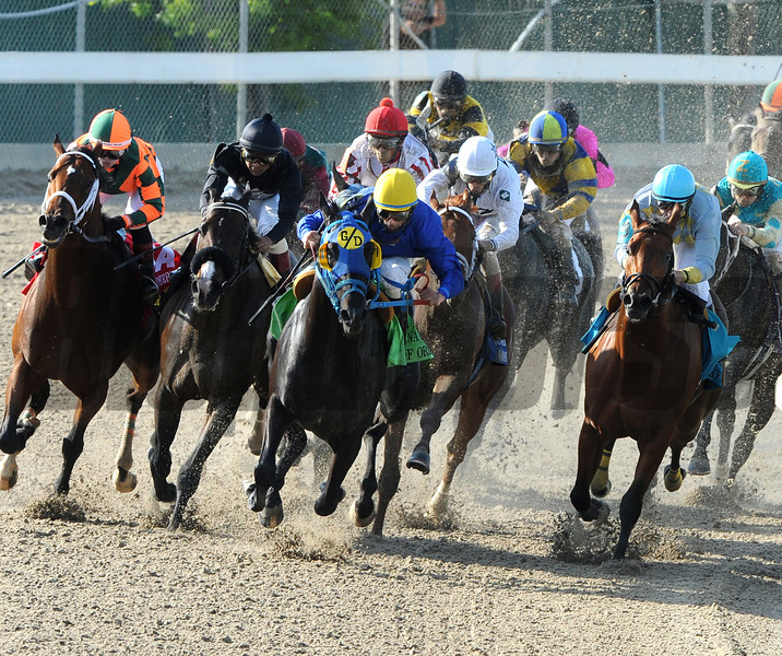 Hero of Order, center, yellow cap and G/D on blinkers, heads into the top of the stretch and goes on to win the $1,000,000 Louisiana Derby at Fair Grounds Race Course and Slots in New Orleans, LA Sunday, April 1, 2012. Eddie Martin, Jr was the winning jockey. The $220.80 payoff on the 109-1 long shot was a Louisiana Derby record.<br /> Alexander Barkoff Photo