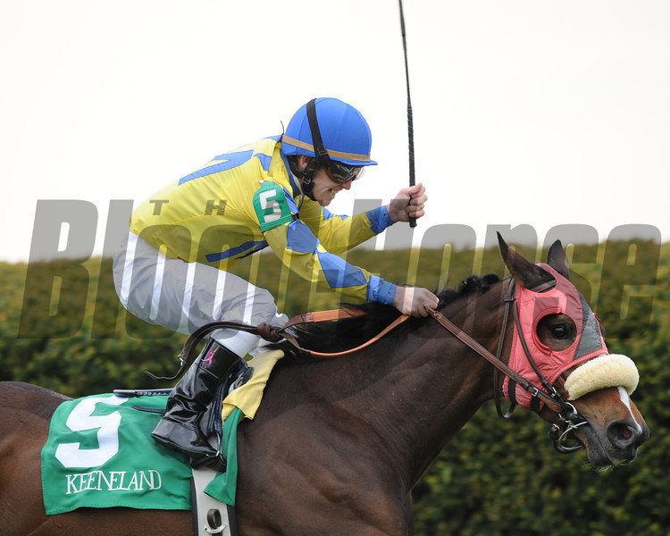 Keeneland Race Course, Lexington, KY 4/13/12 photo by Mathea Kelley, Daisy Devine, James Graham up, wins the Jenny Wiley<br /> Photo by Mathea Kelley
