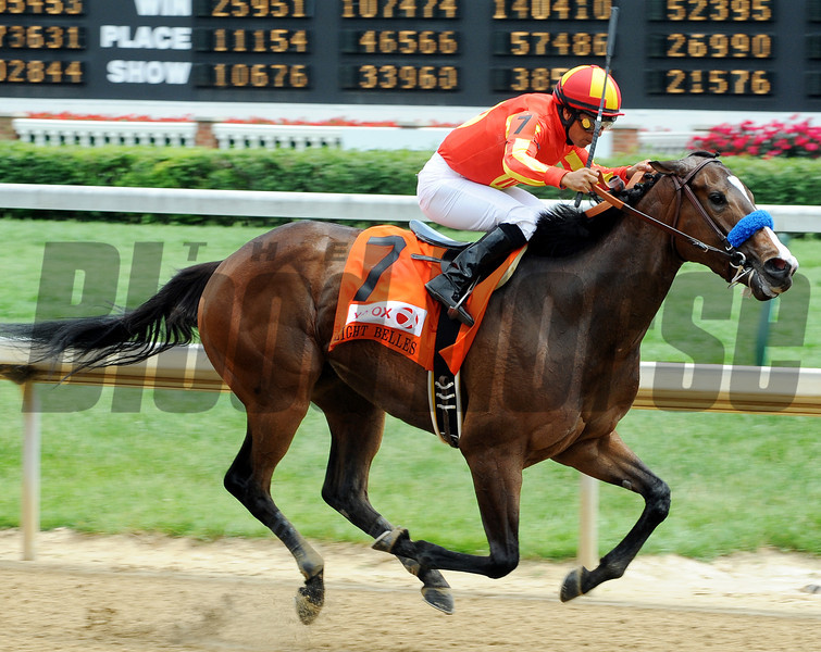 Contested wins the 2012 Eight Belles.<br /> Photo by Dave Harmon