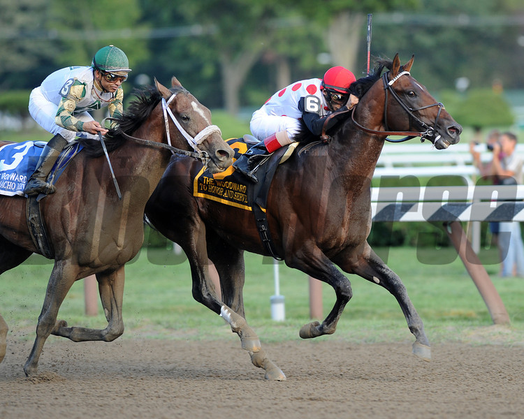 To Honor and Serve wins the 2012 Woodward Stakes.<br /> Coglianese Photos/Susie Raisher