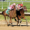 Blind Luck w/Garrett Gomez up and Havre de Grace w/Ramon Dominguez up battle nose for nose in the 74th Running of The Delaware Handicap (GII) at Delaware Park on July 16, 2011.<br /> Photo by Chad Harmon