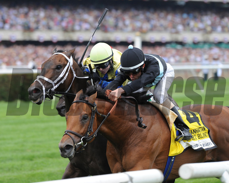 Desert Blanc winning the Manhattan Handicap at Belmont Park.<br /> Photo by Coglianese Photos