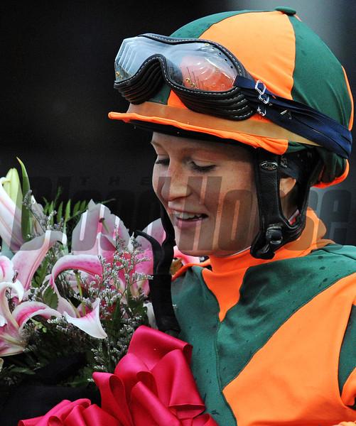 Kentucky Oaks winning jockey Rosie Napravnik in the winners' circle...<br /> © 2012 Rick Samuels/The Blood-Horse