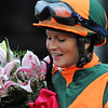Kentucky Oaks winning jockey Rosie Napravnik in the winners' circle...<br /> © 2012 Rick Samuels/The Blood-Horse