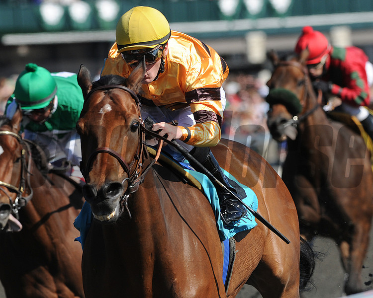Successful Dan, Julien Leparoux up, wins the 8th Race at Keeneland Race Course, Lexington, KY 4/6/12 <br /> Photo by Mathea Kelley