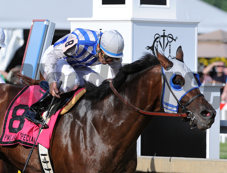 Alternation, Luis Quinonez up, wins the Pimlico special,  Pimlico Race Track, Baltimore, MD 5/18/12, Photo by Mathea Kelley
