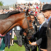 Rcing from York 22/8/12. Juddmonte International.<br /> Victorious Frankel Team,  Prince K Abdulla and Sir Henry Cecil<br /> Photo by Trevor Jones