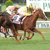 Nahrain captures TheGrade I Flower Bowl Invitational Stakes at Belmont Park, New York, 9/29/12....Ridden by John Velazquez....Zagora was second with Ramon Dominguez up....<br /> Coglianese Photos/David Alcosser
