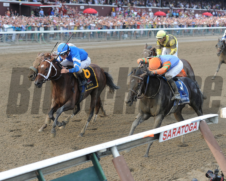 Alpha and Golden Ticket deadheat in Travers.<br /> Coglianese Photos/Courtney Stafford