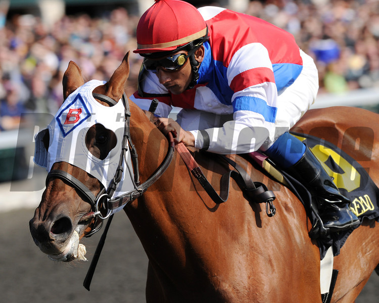 Groupie Doll, Rajiv Maragh up, wins the Thoroughbred Club of Amercia Stakes, Keeneland Race Track; Lexington; KY 10/6/12 photo by Mathea Kelley