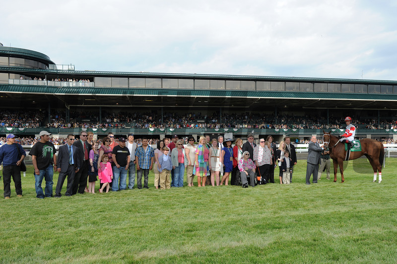 Keeneland Race Course; Lexington; KY 4/14/12 photo by Mathea Kelley; winners circle,,,Lonesome Street, Joel Rosario up wins the Commonwealth, winners circle