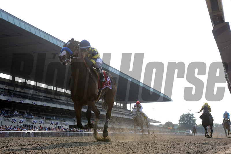 Contested wins the Acorn Stakes<br /> <br /> Photo by Coglianese Photos