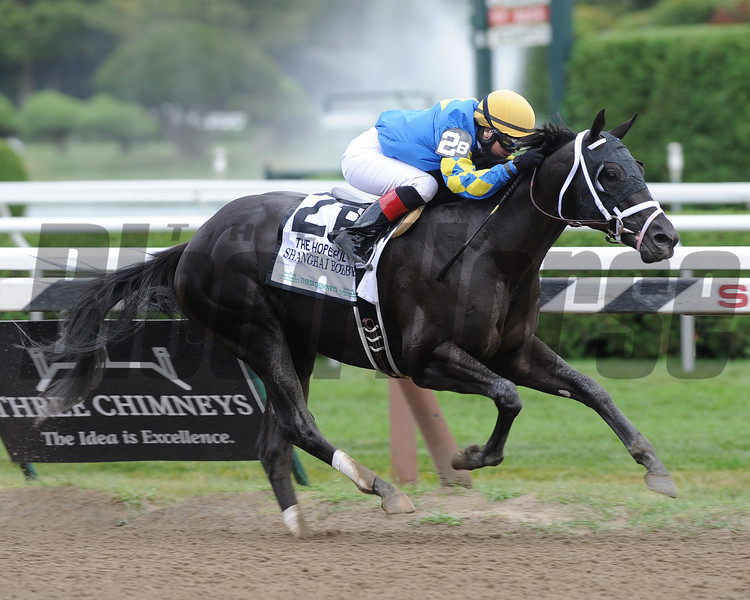 Shanghai Bobby wins the Hopeful Stakes at Saratoga.<br /> Photo by Coglianese Photos/Courtney Stafford