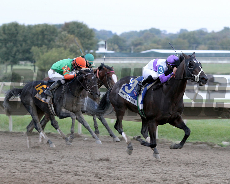 Handsome Mike w/Irad Ortiz Jr. up win the 33rd Running of the Pennsylvania Derby (GII) at Parx on September 22, 2012 beating Golden Ticket w/David Cohen up and Stephanoatsee w/Sheldon Russell up.<br /> Photo by Chad B. Harmon