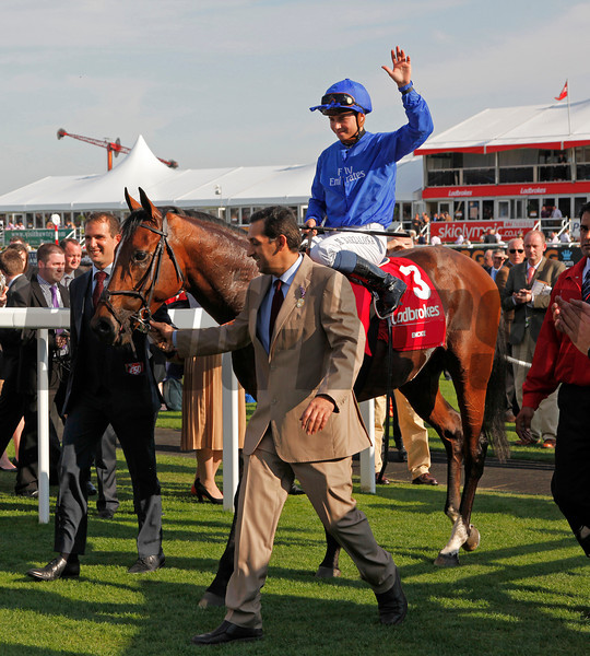 Racing from Doncaster, 15/9/12. Ladbrokes St. Leger.<br /> Encke and Mickael Barzalona is led in to the winners enclosure by Mamood Al Zarooni<br /> Photo by Trevor Jones