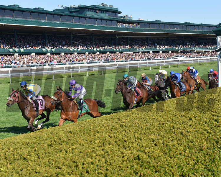 Center Court, Julien Leparoux up, wins the Jenny Wiley Stakes  Keeneland Race Track, Lexington, KY 4/12/13, photo by Mathea Kelley, first time by