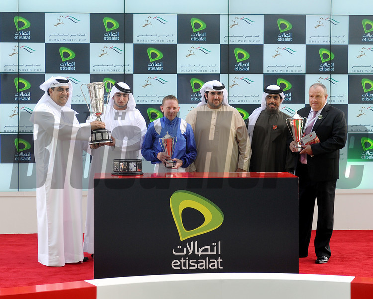 The Godolphin Mile trophy presentation.<br /> Photo by Dave Harmon
