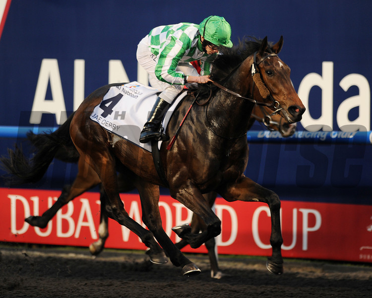 Lines of Battle wins the 2013 UAE Derby.<br /> Mathea Kelley Photo