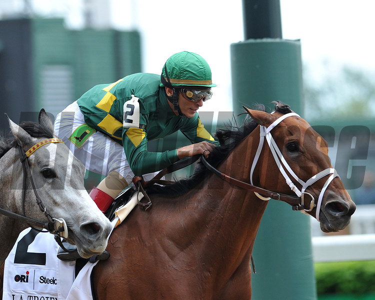 Authenticity, John Velaszequez up, wins the La Troienne Stakes, 2013 Churchill Downs, Louisville, KY photo by Mathea Kelley
