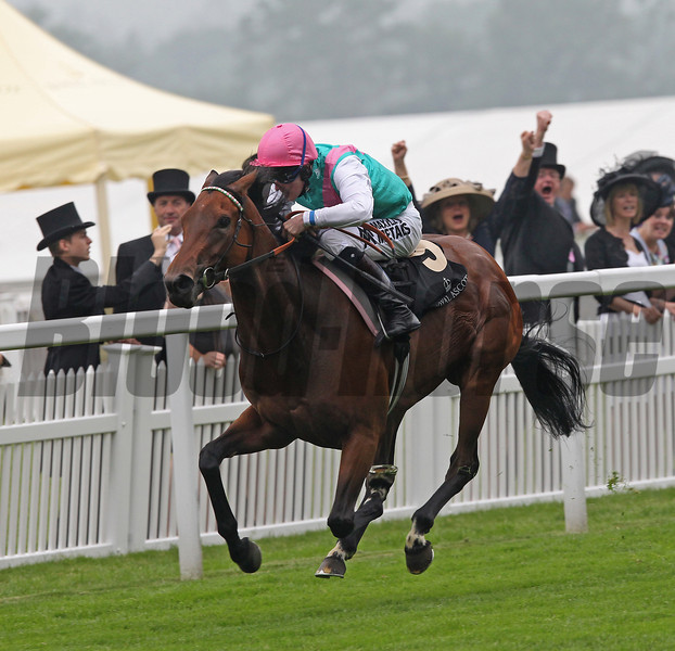 Racing from Royal Ascot The Ribblesdale Stakes 20/6/12<br /> Winner Riposte and Jockey Tom Queally<br /> Trevor Jones Photo