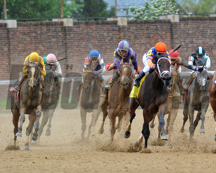 Princess of Sylmar wins the 2013 Kentucky Oaks.<br /> ©Photo by Mathea Kelley