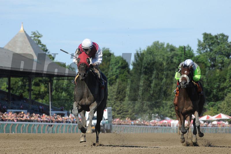 Romansh (left) wins the Curlin Stakes via Disqualification.<br /> Coglianese Photos