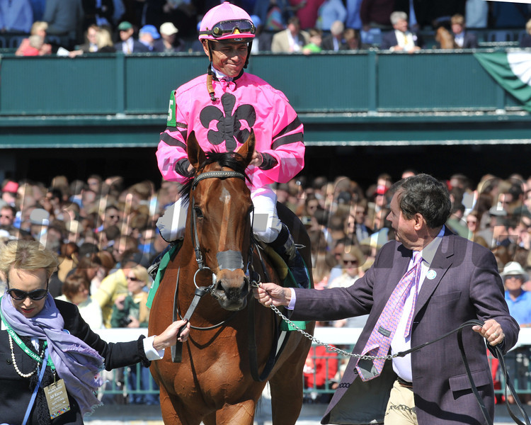 Havelock, Garrett Gomez up, wins the Shakertown Stakes  Keeneland Race Track, Lexington, KY 4/12/13, p<br /> ©Photo by Mathea Kelley,