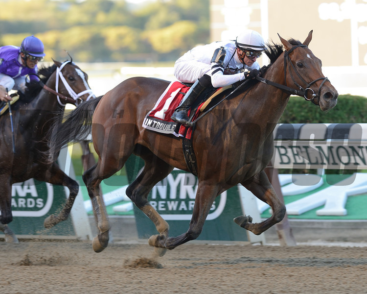 There were five 2-year-olds entered in the $196,000 Futurity Stakes (gr. II) Sept. 29 at Belmont Park, but it turned out to be a two-horse race as fast-developing In Trouble topped favored Corfu for a comfortable 2 1/4-length victory.<br /> Coglianese Photos