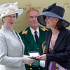 Racing from Royal Ascot The Ribblesdale Stakes 20/6/12<br /> Riposte wins and Princess Anne presents the trophy to  Lady Jane Cecil<br /> Trevor Jones Photo