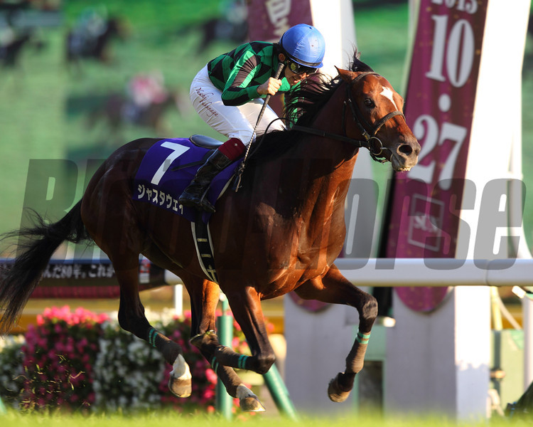 Just a Way unleashed an explosive burst of speed 400 meters out and romped away to win the Tenno Sho (Jpn-I) overwhelming Japan's reigning Horse of the Year Gentildonna and last year's winner, Eishin Flash.<br /> Photo by: Masakazu Takahashi
