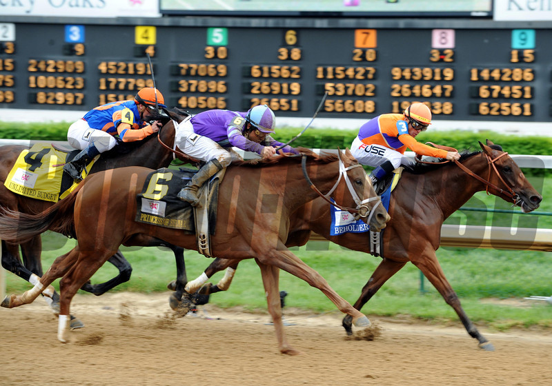 Princess of Sylmar wins the 2013 Kentucky Oaks.<br /> ©Dave Harmon Photo
