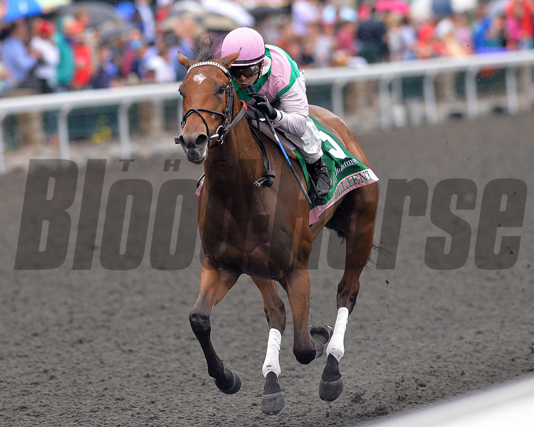 Emollient, Mike Smith up wins the Juddmonte Spinster, Keeneland Race Course; Lexington; photo by Mathea Kelley; 10/6/13;