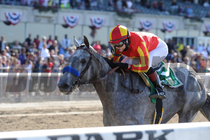 Midnight Lucky wins the Acorn Stakes.<br /> Coglianese Photo/Adam Mooshian