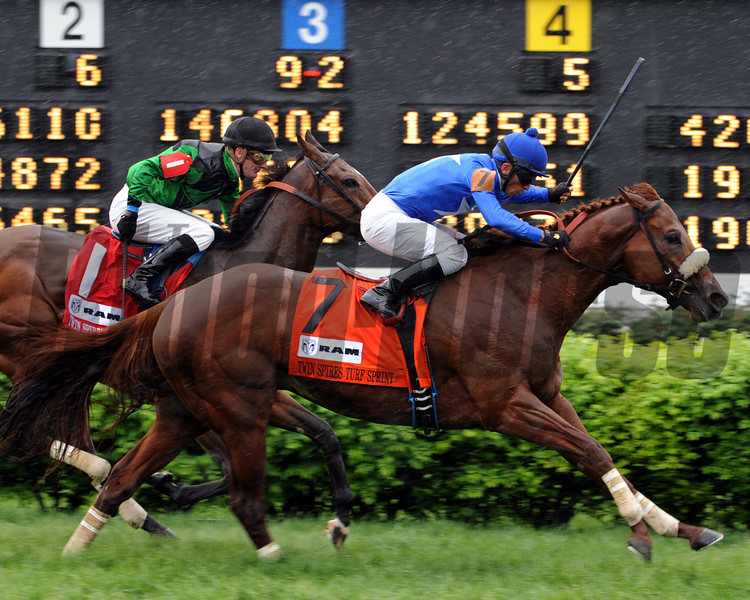 Berlino Di Tiger, Leanardo Goncalves up wins the Twin Spires Turf Sprint, 2013 Churchill Downs, Louisville, KY <br /> Photo by Dave W. Harmon