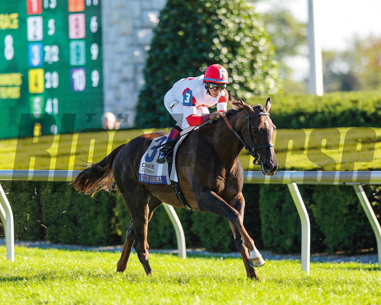 Kitten Kaboodle, Alan Garcia up, wins the Jessamine Stakes, at Keeneland Race Track, Lexington, KY , 10/10/13, photo by Mathea Kelley;