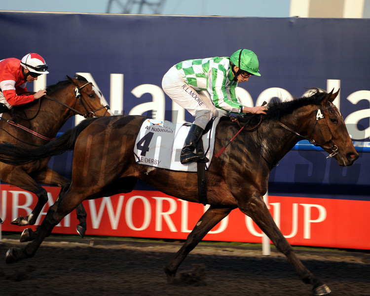 Lines of Battle running in the UAE Derby.       <br /> Photo by Dave Harmon