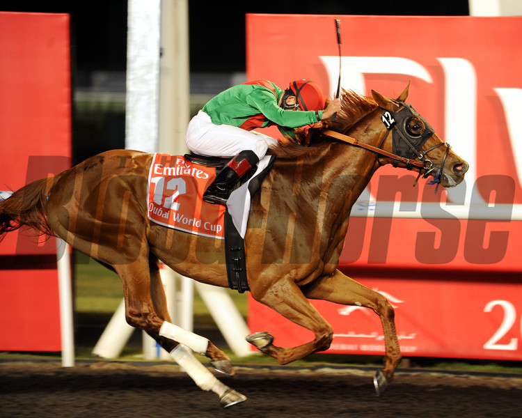 Joel Rosario rode the 2011 Kentucky Derby Presented by Yum! Brands (gr. I) victor to a two-length triumph in the Emirates Airline-sponsored $10 million event—the world's richest horse race —for trainer Graham Motion and owners Arrowfield Stud and Team Valor International.<br /> Photo  by Dave Harmon