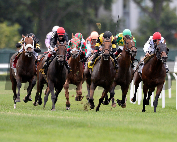 Boisterous wins the 2013 Man o' War.<br /> Coglianese Photos/Joe Labozetta