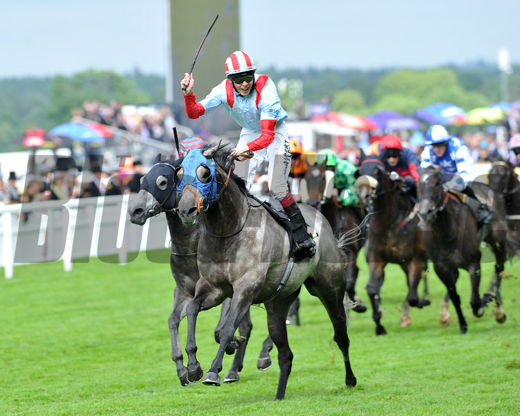 York Glory, Jamie Spencer up, wins the wokingham  Stakes, Royal Ascot; UK, photo by Mathea Kelley; 6/21/13