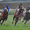 Berlino Di Tiger, Leanardo Goncalves up wins the Twin Spires Turf Sprint, 2013 Churchill Downs, Louisville, KY photo by Mathea Kelley final turn
