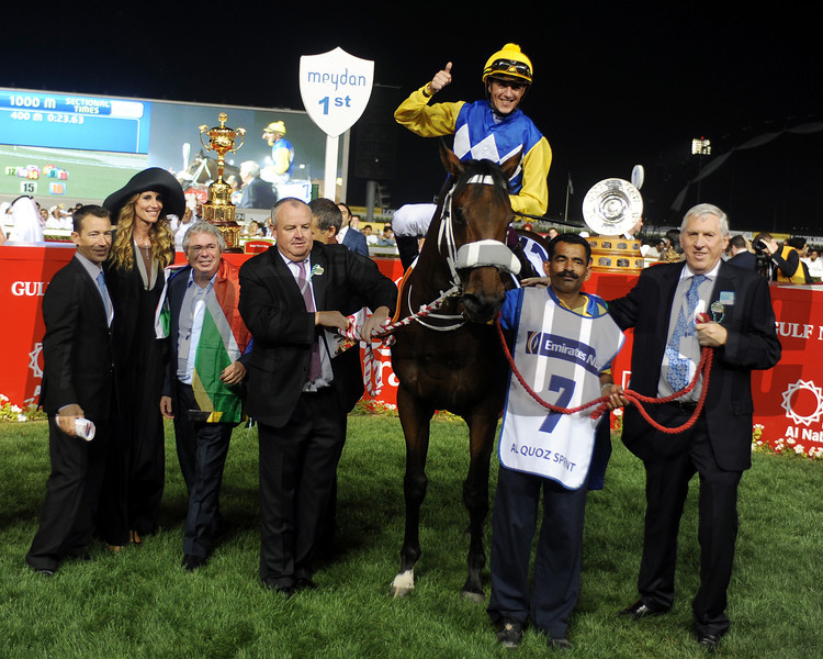 Shea Shea in the winner's circle after a victory in the Al Quoz Sprint. <br /> Photo  by Dave Harmon