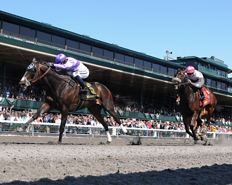Handsome Mike, Mario Gutierrez up, wins the Commonwealth Stakes, Keeneland Race Track, Lexington KY photo by Mathea Kelley 4/13/13