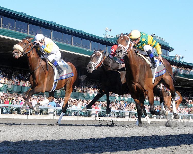 Javas War, Julien Leparoux up, wins the Bluegrass Stakes, Keeneland Race Track, Lexington KY photo by Mathea Kelley 4/13/13;
