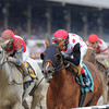 Front-running favorite Lady Cohiba outlasted the closing White Rose to win the $150,000 Glens Falls Stakes, which was taken off the inner turf and contested on a muddy main track on closing day at Saratoga Race Course Sept. 2.<br /> Coglianese Photos