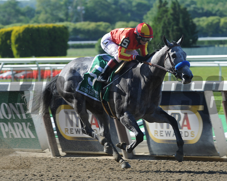 Midnight Lucky takes the 2013 Acorn Stakes at Belmont Park. <br /> Photo by: Adam Coglianese/NYRA